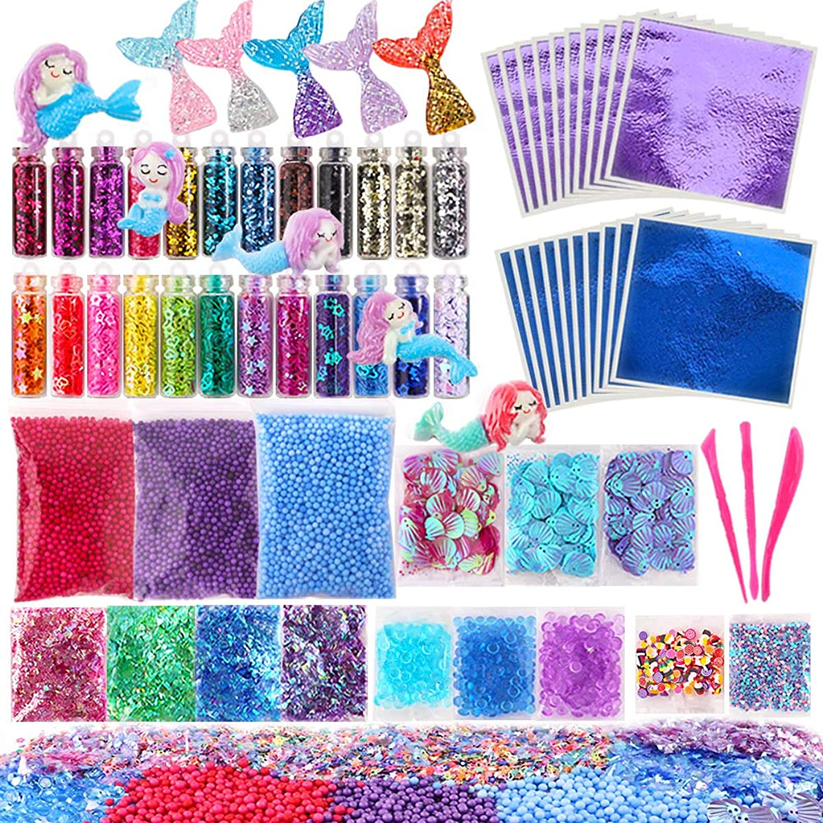 Holicolor 72 Pcs Slime Making Supplies Kit Slime Add Ins Set Include Foam Balls, Fishbowl Beads, Glitter Sequins Accessories, Shells, Mermaid Slime Charms for Slime Party or Mermaid Party