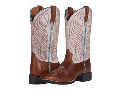 Ariat Round Up Wide Square Toe (Leather Brown/Crackled White) Cowboy Boots
