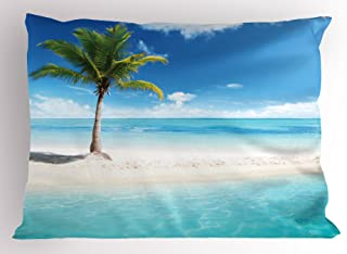 Ambesonne Ocean Pillow Sham, Idyllic Scenery Seashore Picture Sun Rays View with Palm Tree Tropical Beach, Decorative Standard Size Printed Pillowcase, 26
