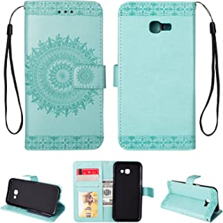 Galaxy A5(2017) Case, Folice Mandala Flower Pattern [Shock Absorbent] PU Leather Kickstand Wallet Cover Durable Flip Case for Samsung Galaxy A5(2017) (Mint Green)