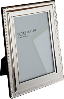 Viceni Silver Plated Bead Photo Frame, 5 by 7 Inch