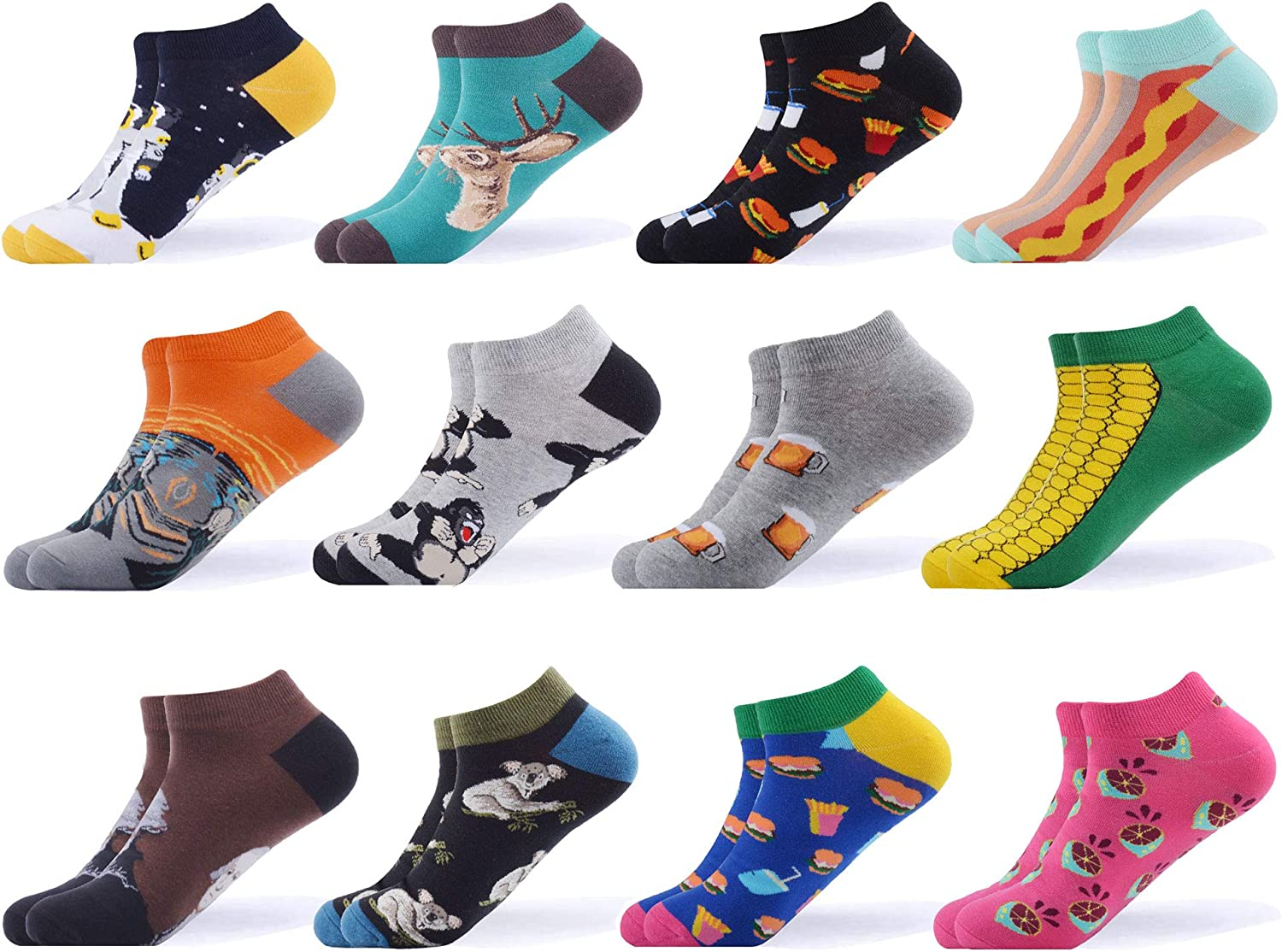 WeciBor Men's Dress Cool Colorful Fancy Novelty Funny Casual Combed Cotton Ankle Socks Pack