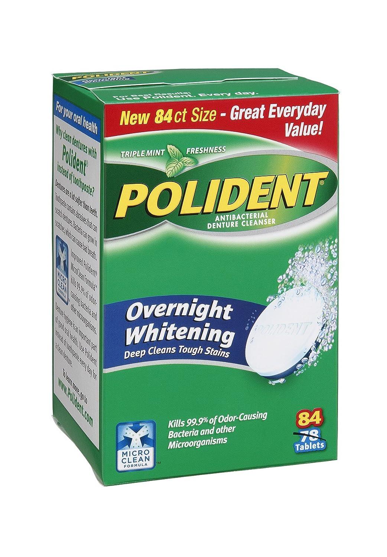 Polident Overnight Whitening Triple Popular [Alternative dealer] brand in the world Mint Antibacterial Freshness