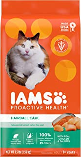 IAMS PROACTIVE HEALTH Adult Hairball Care Dry Cat Food - Chicken and Salmon, 1.59kg bag