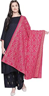 Ishin Women's Navy Blue Rayon A-Line Printed Kurtas Palazzo Sets With Dupatta