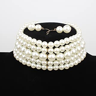 Round Imitation Pearl Choker Necklace Set Resin Chain Collar Choker Statement Necklace Ladies Jewelry Beaded Wedding Party...