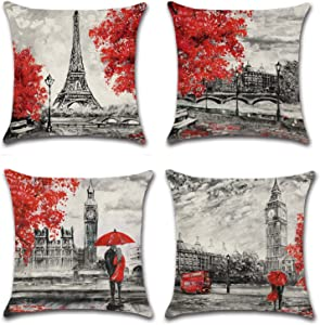 Doublucky Black and Red Throw Pillow Covers Paris Eiffel Tower Big Ben Lovers Oil Paiting Fall Maple Home Decor Cushion Covers Pillowcase Linen Decorative Square 18x18 Set of 4