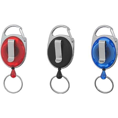 Porte-badge enrouleur Karteo® noir | Enrouleur avec mousqueton, clip et anneau porte-clé | Pour porte-carte, porte-badge, clés | Mousqueton porte-clé avec clip de ceinture