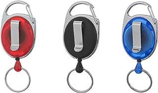 Porte-badge enrouleur Karteo® bleu | Enrouleur avec mousqueton, clip et anneau porte-clé | Pour porte-carte, porte-badge, ...