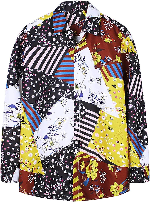 Men's Button Down Long Sleeve Hawaiian Shirt Floral Printing Regular-Fit Blouse Tops Casual Standard-Fit Shirt