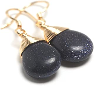 Natural Stone Wire Wrap Dangle Drop Earrings Gold Plated 925 Sterling Silver Hook/Blue Goldstone Water Drop