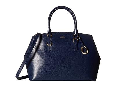 LAUREN Ralph Lauren Bennington Double Zip Satchel (Navy) Satchel Handbags