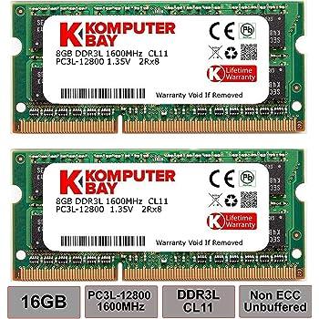 Komputerbay 16GB PC3L-12800 1600MHz MACノートPC用メモリ 1.35V (低電圧) - 204Pin DDR3L 8GB×2枚 永久保証