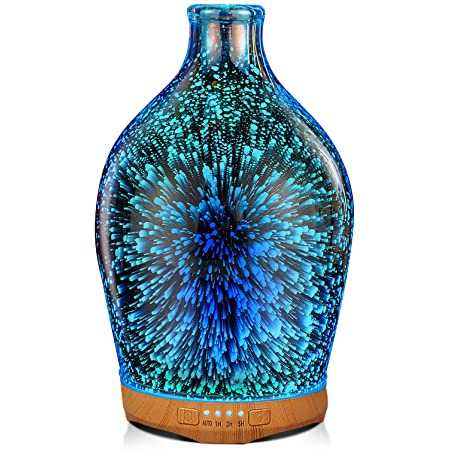 NEW Sandblasted Glass Ultrasonic Diffuser w 7 Color Lights /& FREE Essential Oil!