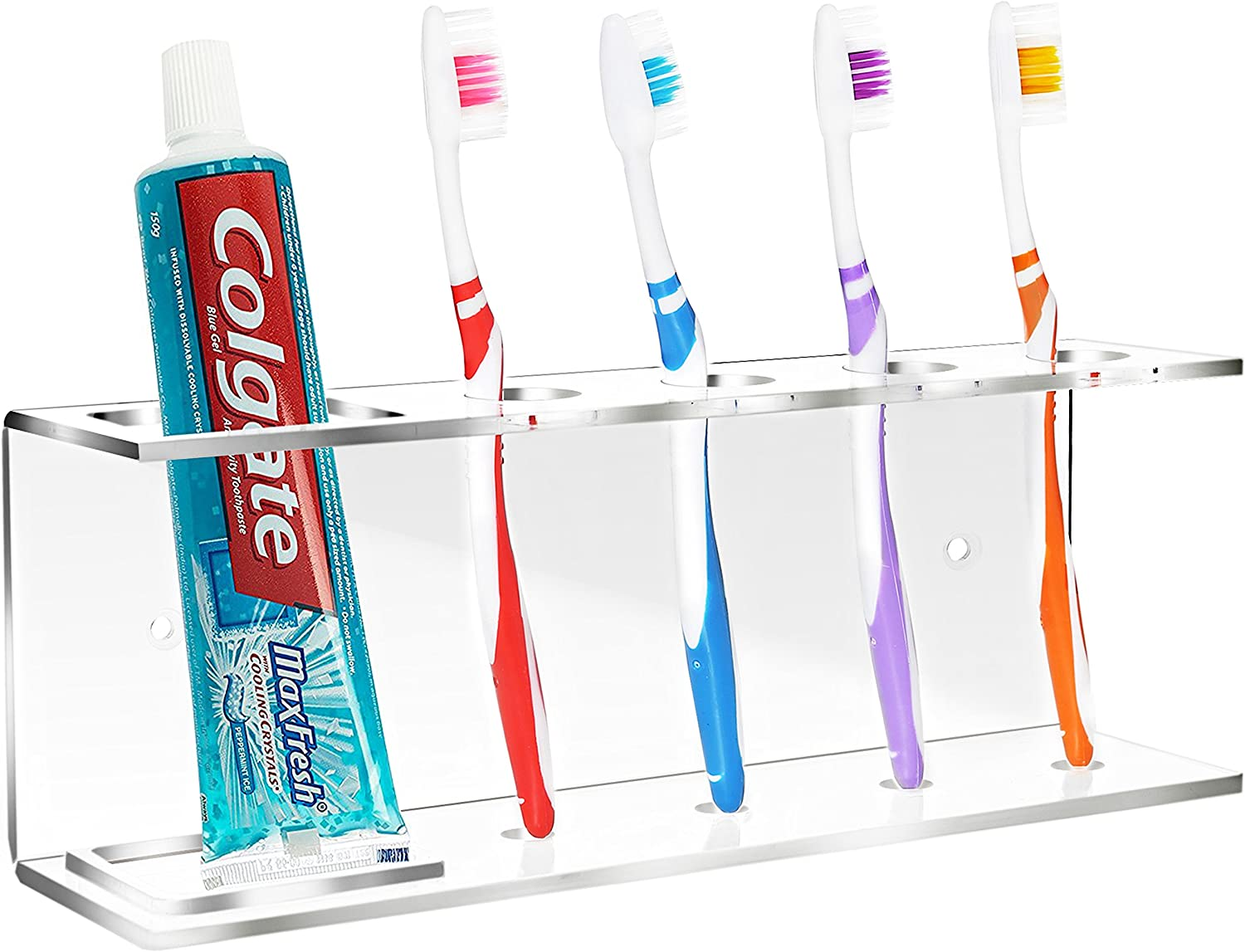 MyGift Modern Wall-Mounted Clear High quality new Acrylic Toothpaste Free shipping New Toothbrush