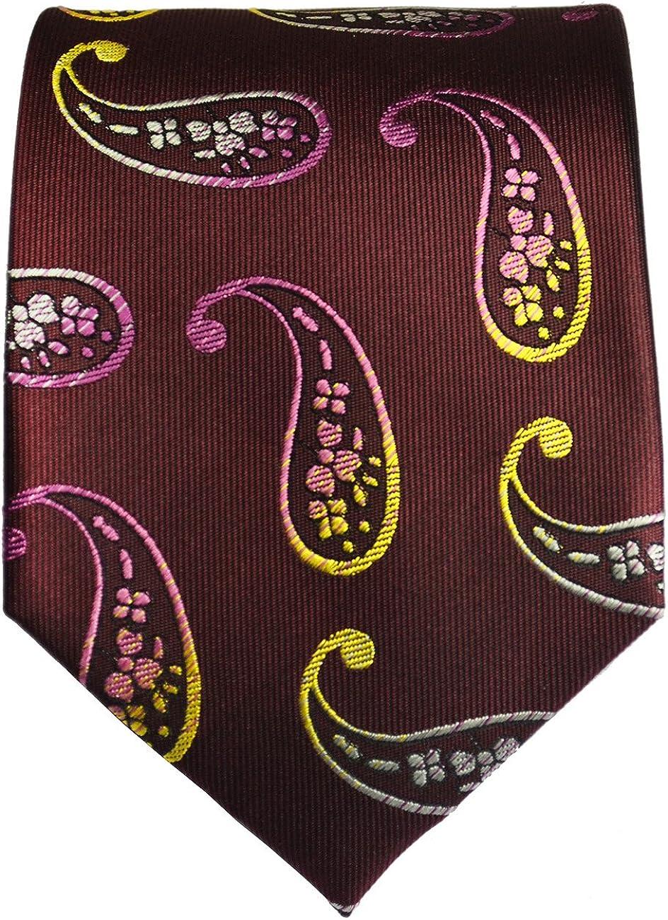 Burgundy Paisley Paul Malone Silk Tie and Pocket Square