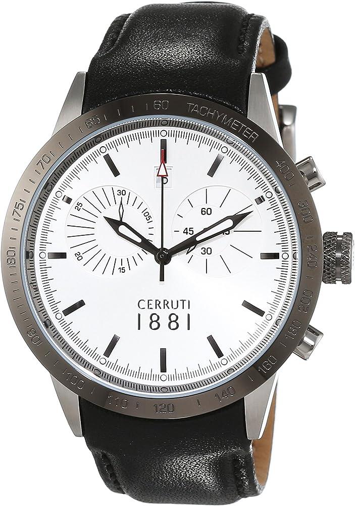 Cerruti 1881 udine,orologio,cronografo per uomo,cassa in acciaio inossidabile e cinturino in vera pelle CRA096A212G