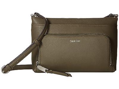 Calvin Klein Key Item Saffiano Leather Top Zip Crossbody (Camouflage) Cross Body Handbags