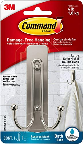 Command Large Double Bath Hook, Satin Nickel, 1-Hook, 1-Large Water-Resistant Strip, Organize Damage-Free