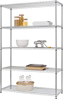 Trinity EcoStorage 5-Tier NSF Wire Shelving Rack, 48 by 18 by 72-Inch, Chrome
