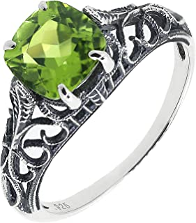 BL Jewelry Antique Finished Sterling Silver Cushion Cut Genuine Natural Peridot Filigree Ring (1 3/5 CT.T.W)