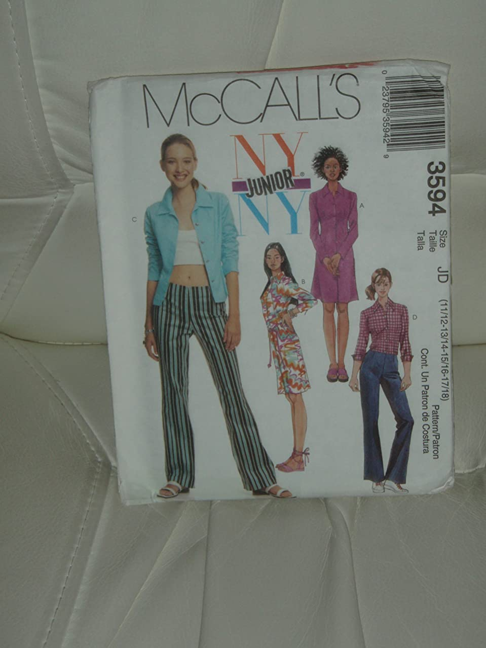 McCall's Sewing Pattern #3594: Junior's Shirt-Dresses, Shirt and Low-Rise Pants (Size 11/12,13/14,15/16,17/18)