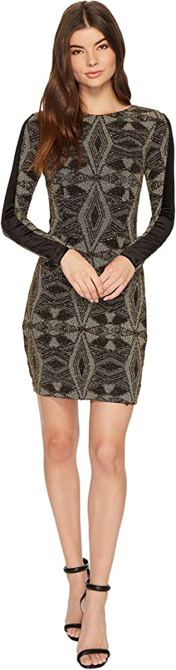 Aidan Mattox - Geo Metallic Knit Dress