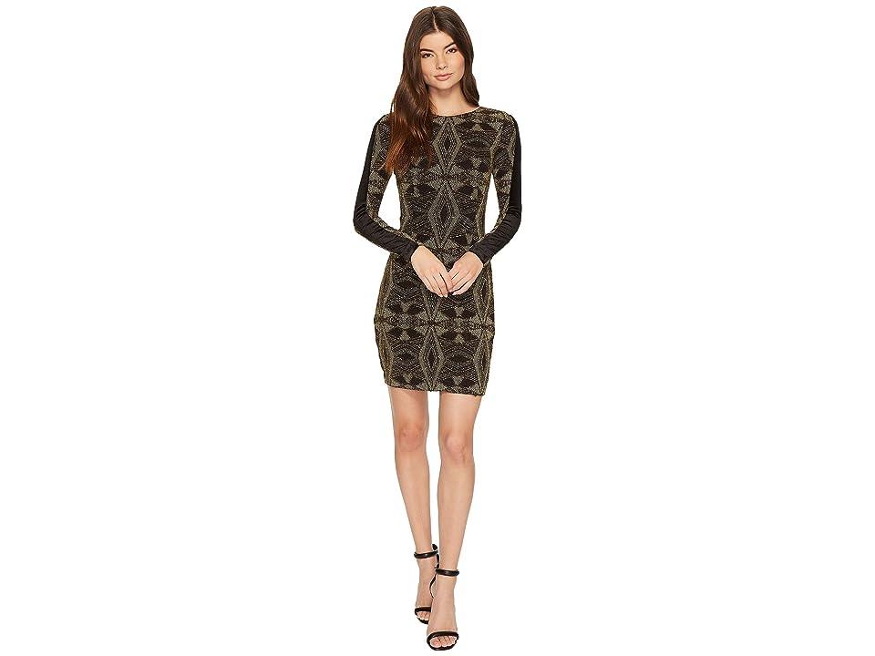 Image of Aidan Mattox Geo Metallic Knit Dress (Black/Gold) Women's Dress