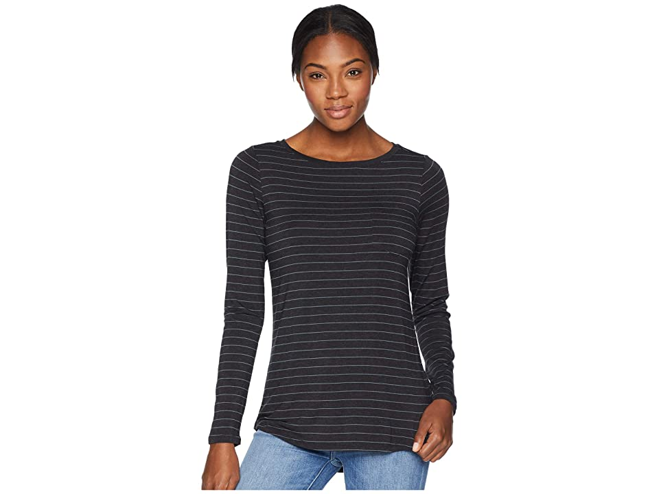 Prana Foundation Long Sleeve Tunic (Charcoal Heather Stripe) Women