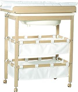 roba Combinaison baignoire-table à langer en bois naturel, table à langer pliable avec baignoire et avec matelas à langer ...