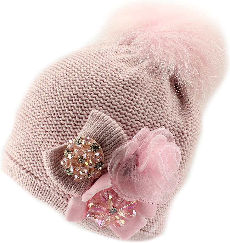 Barbaras Pink Girls' Winter Warm Natural Fur Pom Pom Beanie Hat