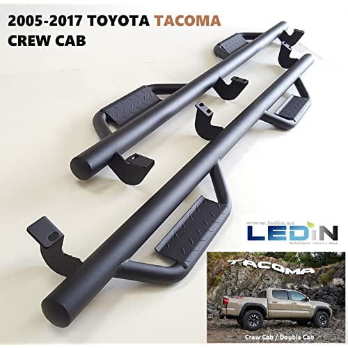 """LEDIN Running Board Texture Black 3"""" Rough Side Step Nerf Bar for 2005-2018 Toyota Tacoma Crew Cab 4D with Dropped Steps"""