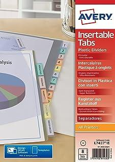 AVERY - Intercalaires à onglets personnalisables et imprimables, 8 touches, Format A4, En polypropylène coloré translucide
