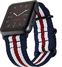 Carterjett Extra Large Compatible with Apple Watch Band Men 44mm 42mm XL USA Red White & Blue Long Nylon iWatch Bands Replacement NATO Strap Series 5 4 3 2 1 Nike Sport (42 44 XXL Patriot Stripe)