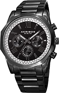 Father's Day Gift - Akribos XXIV Multifunction Crystal Accented Watch- Stainless Steel Bracelet - 3 Subdials Men's Quartz Wristwatch - AK999