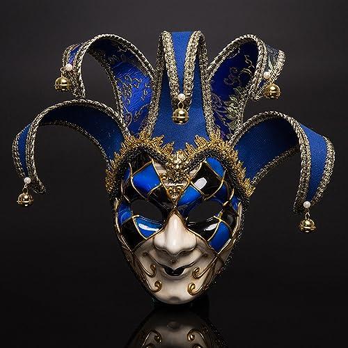 Fronte sorridente della maschera del teatro di carnevale di Venezia Rosso e  blu a due colori 2048d60d5d10