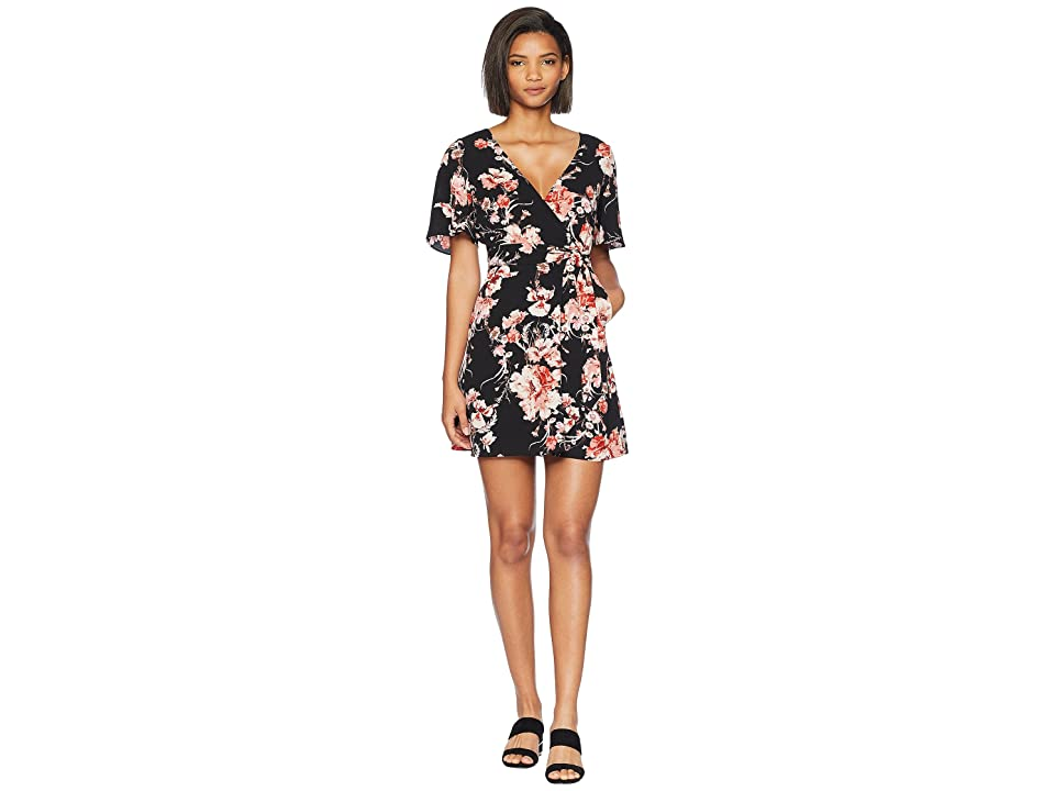 BB Dakota Wait Until Dark Floral Rap Dress (Black) Women