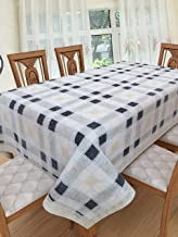 Clasiko 6 Seater PVC Table Cover; Beige & Blue Checks On White Base; Anti Slip; 60x90 Inches; 6 Seater