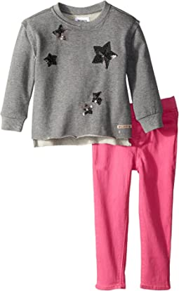 Hudson Kids - Two-Piece French Terry Pullover Sweatshirt w/ Sateen Pants Set (Toddler)