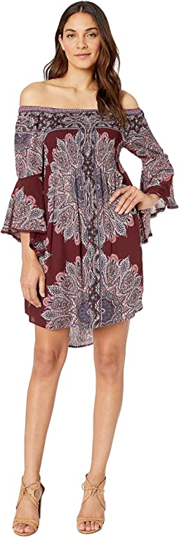 Cold Shoulder Long Sleeve Printed Dress