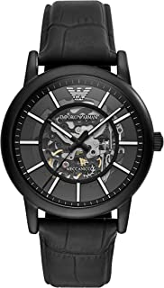 Emporio Armani Men's Dress Stainless Steel Japanese-Automatic Watch with Leather Calfskin Strap, Black, 22 (Model: AR60008)