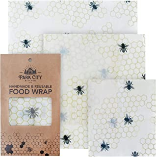 Beeswax Reusable Food Wraps Set of 3 (S, M, L) - Eco Friendly & Biodegradable Alternative to Plastic Wrap -...