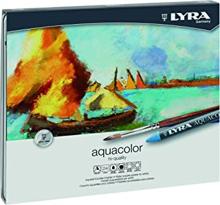LYRA Aquacolor Water-Soluble Wax Crayons, Set of 24 Crayons, Assorted Colors (5611240)