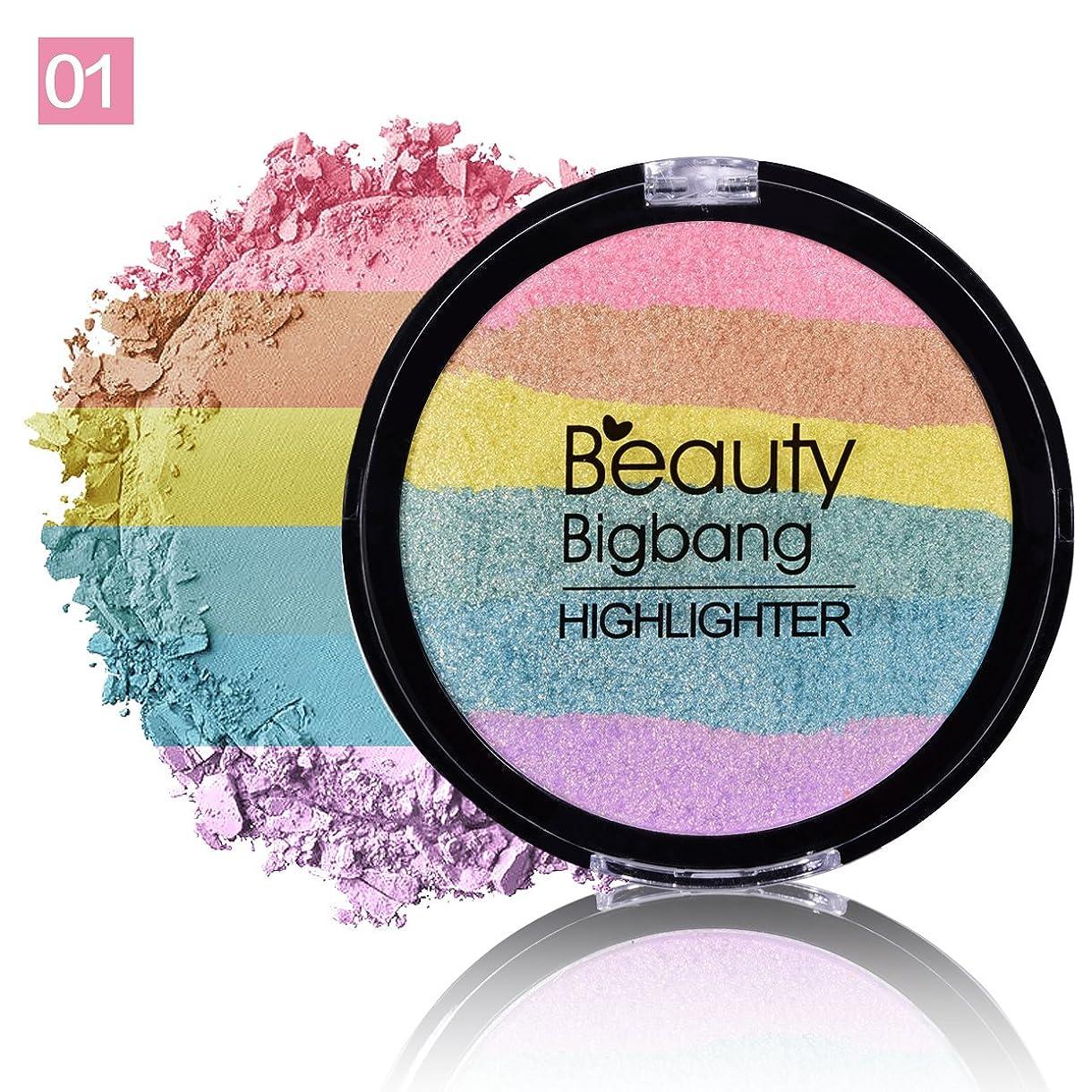 サークル数エキスパートMyMei かわいい 虹色 ハイライター ハイライト フェイスパウダー 化粧品 メークアップ (1C)