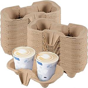 SEUNMUK 100 PCS 2 Cup Molded Fiber Drink Carriers, Drink Holder Biodegradable for 8-24 Oz Cups, Compostable Cup Holder for Restaurants, Cafes & Coffee Shops Food Delivery Service