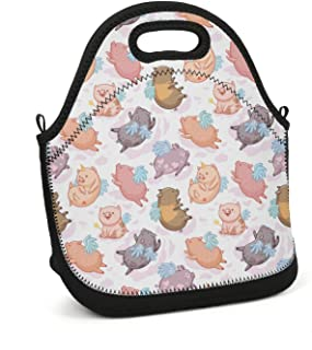 uter ewjrt Durable Polyester Pig Unicorn with Wings Casual Lunch Box Toto Mom Bag for School Work Outside Picnic