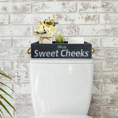 Unistyle Wooden Toilet Tank Box Funny Bathroom Decor Box 2 Sides Rustic Toilet Paper Holder Basket Farmhouse Bathroom Decor B