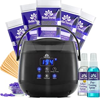 Wax Warmer Home Waxing Kit - Wax Kit for Hair Removal Wax Pot Professional with LED Display and 5 Bags Painless Hard Wax B...