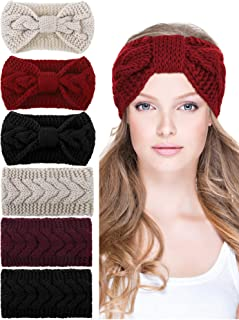 6 Pieces Cable Knit Headband Winter Braided Headband Crochet Bow Twist Hair Band