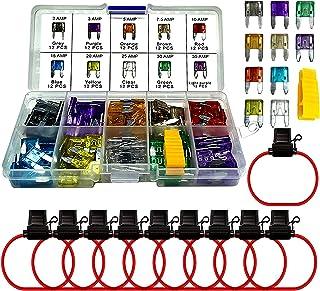 MuHize 120 Pcs Car Fuses with Holder - Mini ATM Assorted Blade Fuses (2A 3A 5A 7.5A 10A 15A 20A 25A 30A 35A) +10pcs Inline...